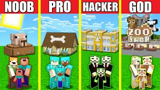 Minecraft Battle: ZOO PET SHOP HOUSE BUILD CHALLENGE - NOOB vs PRO vs HACKER vs GOD Animation STORE