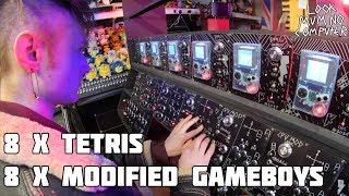 Playing Tetris 8 Times At The Same Time On Gameboy Mega Machine