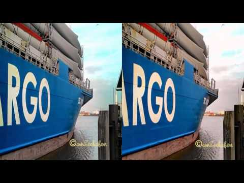 3d stereoscopic Vessel exit sealock Hafen Emden Port Schiff in Seeschleuse sbs SC ASTREA