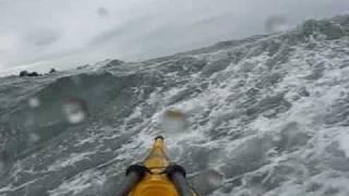 Kayaking on rough sea water