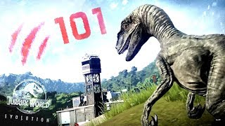 Jurassic World Evolution - OVER 100 RAPTORS ATTACK! - 100 Raptors vs 8000 Civilians (JWE Gameplay)
