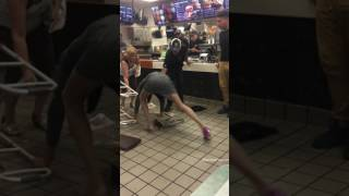 Old lady falling in McDonald's
