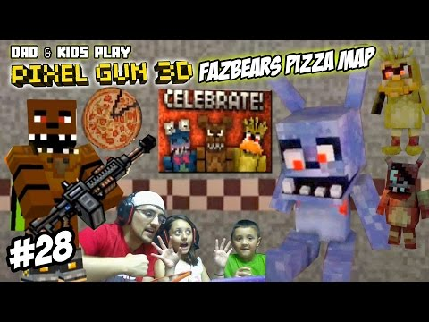 Dad & Kids Play PIXEL GUN 3D! Freddy Fazbears Pizza Map ...