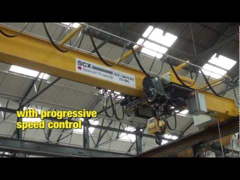 Low-headroom hoist with MotoSuiveur emergency brake and progressive speed control