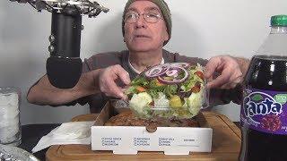 ASMR Eating Anchovy Pizza Garden Salad Carrot Cake Grape Fanta Whispering