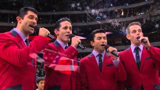 Cast of Jersey Boys sings The National Anthem for the Dallas Mavericks game