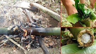 Primitive Technology: Cooking Rice in Bamboo Primitive