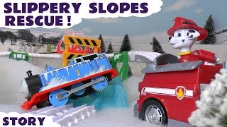 Thomas and Friends Icy Accident with a Paw Patrol Rescue - Toy Trains Fun Snow Story ToyTrains4u