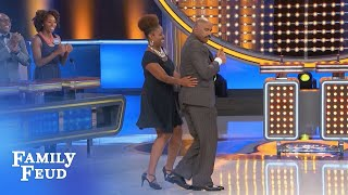 Steve and Brigette STEP to it!!! | Family Feud