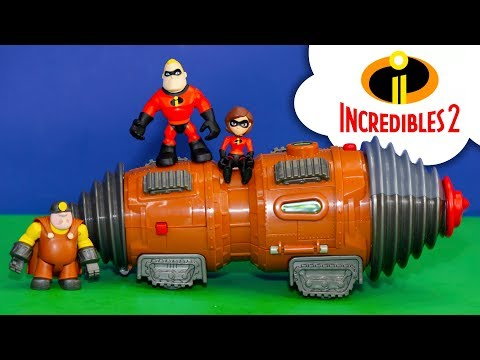 The Incredibles 2 Tunneler  Underminer Playset with  Elastigirl and Mr Incredible  and Vampirina
