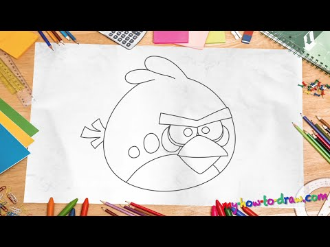 How to draw Angry Birds - Chuck - Easy step-by-step drawing lessons ...