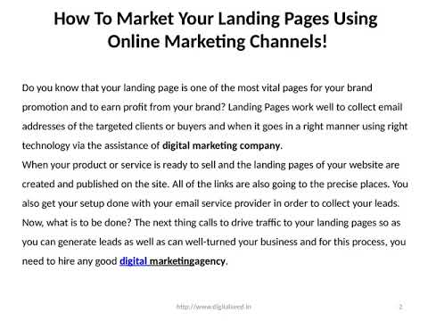 How To Market Your Landing Pages Using Online Marketing Channels!