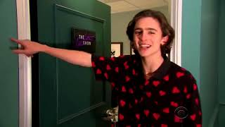 Timothée Chalamet and Bryan Cranston opening of the Late late show with James Corden