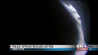 Police officer rescues stranded kitten