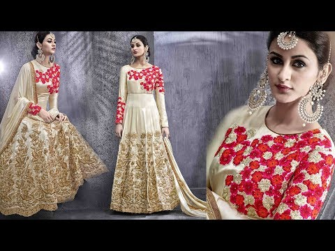 Anarkali Dress Designs: Designer Party Wear Dresses Latest Stylish Long Floor Length Floral Design