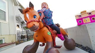 Ultimate HIDE N SEEK! Unboxing SURPRISE SPIRIT the Horse Toys! (Adley rides Spirit the horse)