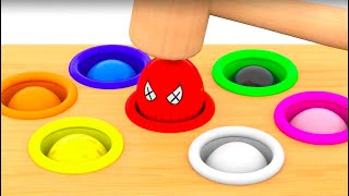 Spiderman Peppa Pig Learn colors with whac a mole * LEARN COLORS FOR KIDS
