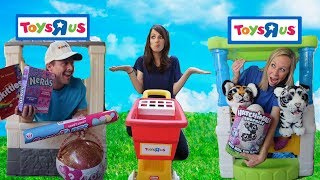 Silly Toy Store Workers Compete for a New Customer !!!