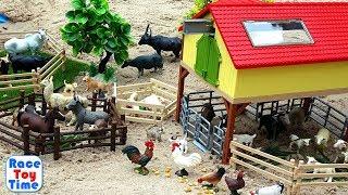 Fun Farm Animals Toys For Kids - Let's Make a Farm in the Sandbox
