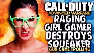 COD AW - RAGING GIRL GAMER DESTROYS SQUEAKER!! GUN GAME TROLLING (Hilarious)