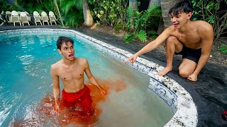 My twin brother had an ACCIDENT in the Swimming Pool..