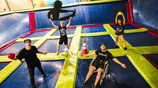 OVERNIGHT IN ABANDONED TRAMPOLINE PARK! (Ends up in Wheelchair!)