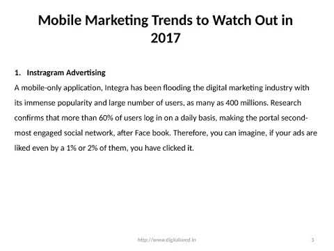 Mobile Marketing Trends to Watch Out in 2017 – Digitalseed | Digital Marketing company in pune