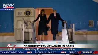 TRUMP IN PARIS: President Trump And Melania Trump Arrive In Paris, France