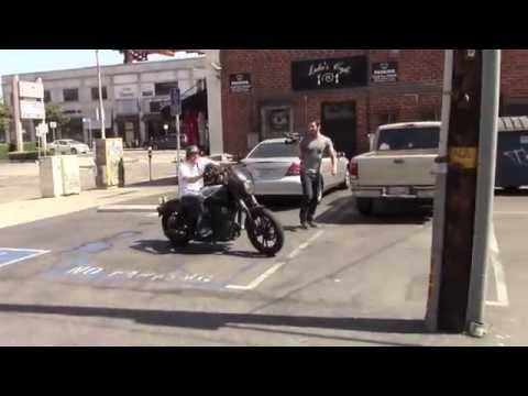 Jax Teller (Charlie Hunnam) rides his Harley Davidson in Hollywood,