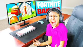 I secretly put AIMBOT on Little Brother's PC.. (Fortnite)