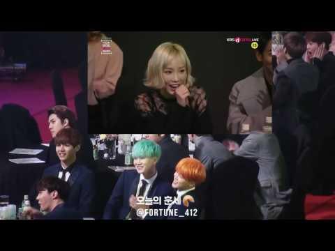 bts reacting to taeyeon @ SMA 2016