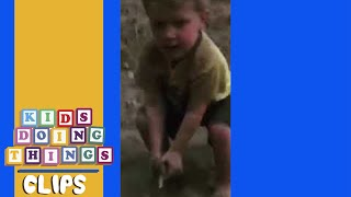 Funny Little Boy Playing in Dirt   Kids Doing Things Clips