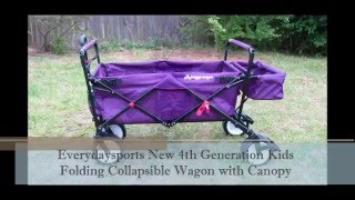 Everydaysports New 4th Generation Kids Folding Wagon with Canopy Buggy Wagon