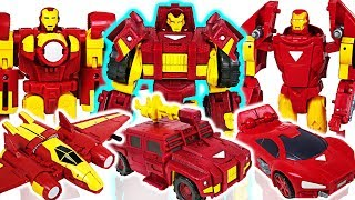 Marvel Avengers Transformers Iron Man the three musketeers! Defeat the dinosaurs! - DuDuPopTOY