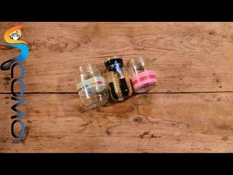 Vídeo para ver cómo decorar tarros con washitape