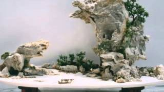 奇石組成的山水盆景