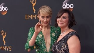 Sarah Paulson Wins Emmy For O.J. Miniseries With Real Marcia Clark By Her Side
