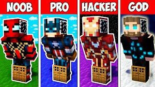 Minecraft NOOB vs PRO vs HACKER vs GOD : SUPER BLOCK BASE INSIDE HEROES in Minecraft ! Animation