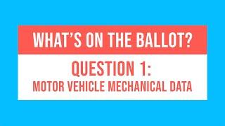 MA Ballot Question 1: Motor Vehicle Mechanical Data