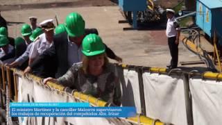 El ministro Martínez y la canciller Malcorra supervisaron los trabajos de recuperación del rompehielos Almirante Irízar