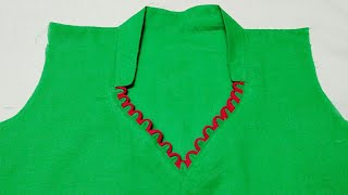 half coller neck design very easy method (हाल्फ कोलर लगाने का आसान तरीका)