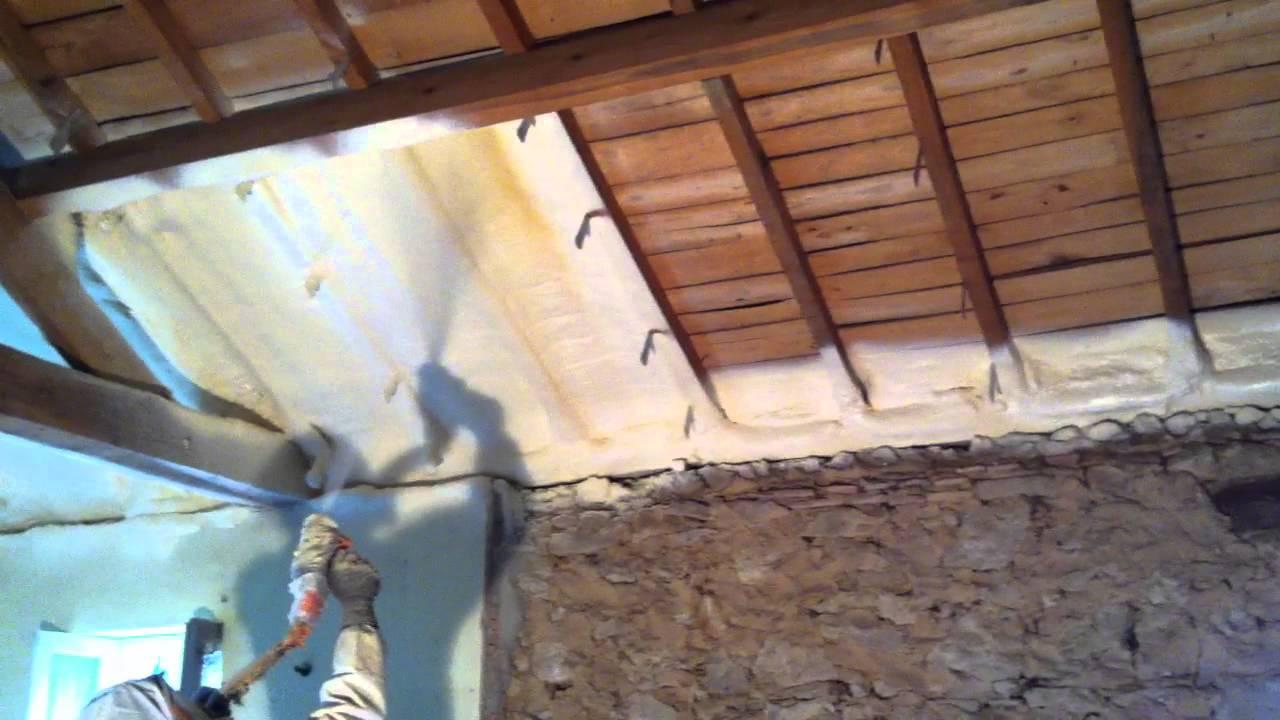 isolation maison par projection de mousse polyurethane 47 24 33 youtube. Black Bedroom Furniture Sets. Home Design Ideas