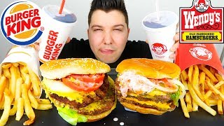 Burger King Triple VS Wendy's Triple Cheeseburger • Which One Better...?!?! • MUKBANG