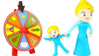 LITTLE PRINCESS WANTS TO PLAY WITH THE WHEEL OF FORTUNE ❤ SUPERHERO PLAY DOH CARTOONS FOR KIDS