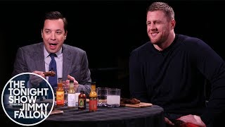 J.J. Watt & Jimmy Get Their Feelings Hurt While Eating Spicy Wings w/ Sean Evans (Hot Ones)