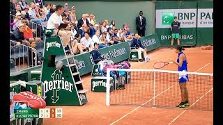 Zhang Shuai protests and mimics chair umpire to laughter from crowd
