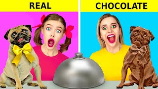 CHOCOLATE VS REAL FOOD CHALLENGE || Eating Only Sweet 24 Hours! Funny Pranks by 123 GO! FOOD