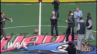 Milwaukee Bucks Giannis Antetokounmpo makes BIG SHOT at MKE Wave Soccer Game