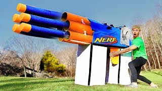 WORLDS BIGGEST CARDBOARD NERF GUN!! (EXTREME POWER)