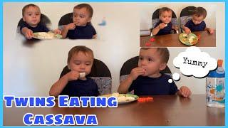TWINS EATING BOILED CASSAVA | KAMOTENG KAHOY TASTE TEST | FILIPINO AMERICAN TWINS